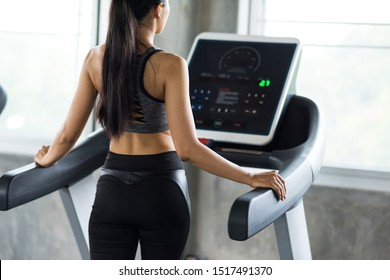 Rear shot of sporty woman walking on treadmills to warm up before running exercise in fitness gym with copy space for text. Bodybuilding and healthy lifestyle concept.