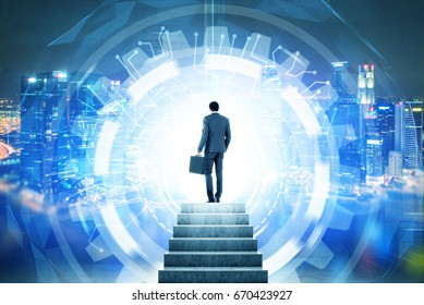 Rear view of an African American businessman entering a glowing HUD. Concept of a future and looking for a way out. Strairs