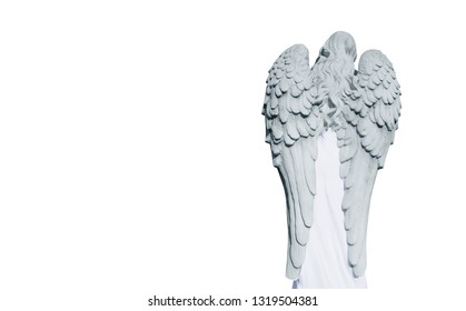 Rear view of antique statue of angel with wings. Isolated on white background.