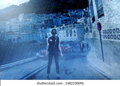 Rear view of Asian policewoman with the gun on her hand face the zombies on the abandoned city at night. Halloween concept
