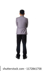 Rear view of asian young business man isolated over white background, full length portrait of businessman standing back