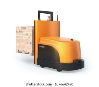 Rear view of autonomous forklift carrying pallet of goods isolated on white background. 3D rendering image.