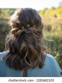 Rear view of beautiful woman with hairstyle wearing blue dress and gold hair accessory in summer field at sunset