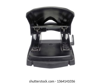 rear view of black paper hole puncher of office stationery  isolated on white background
