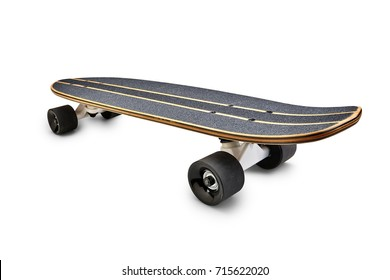 Rear view of a Black and wooden skate board isolated on a white background with clipping path