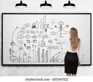 Rear view of a blond businesswoman drawing a business scheme on a whiteboard. Concept of planning and strategic thinking.