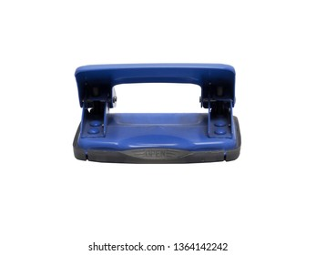 rear view of blue paper hole puncher of office stationery isolated on white background