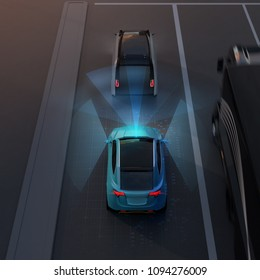 Rear view of blue SUV emergency braking to avoid car crash. Automatic Emergency Braking (Emergency brake system) concept. Night scene. 3D rendering image.