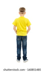 Rear view of boy isolated on white background