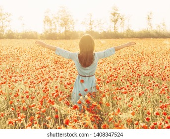 Rear view of brunette young woman walking with raised arms in flower meadow and enjoying of freedom on sunny day in summer vacations.