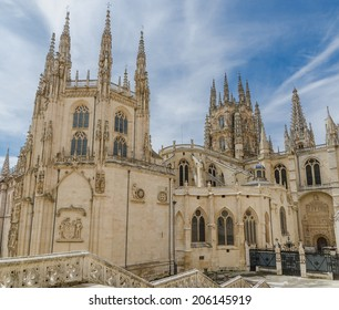 Rear view of Burgos gothic cathedral. Spain