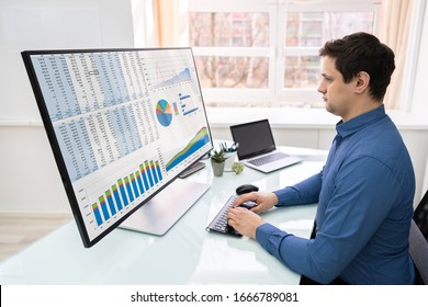 Rear View Of A Businessman Analyzing Graphs On Computer At Workplace