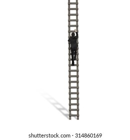 Rear view of businessman climbing on wooden ladder, on white background.