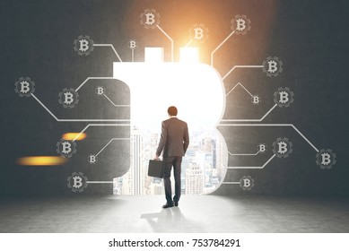 Rear view of a businessman holding a suitcase and looking at a cityscape standing in a dark room with bitcoin network sketch and a large bitcoin sign opening in the wall. Toned image mock up