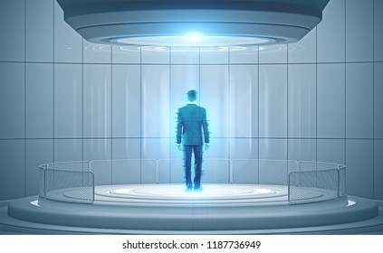 Rear view of businessman hologram in a holodeck. Concept of hi tech, teleportation and science fiction. Toned image