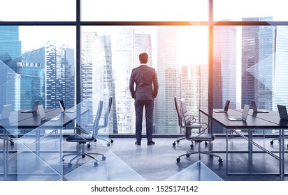 Rear view of businessman looking at city from his panoramic office. Concept of brainstorming and leadership. Toned image double exposure
