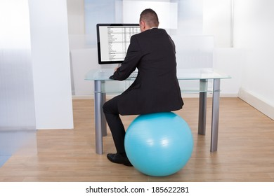 Rear view of businessman sitting on pilates ball and using computer in office