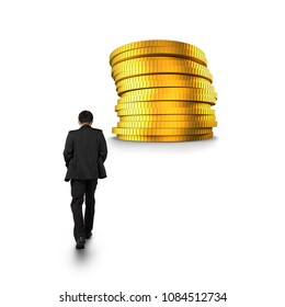 Rear view of businessman walking toward stack of golden coins, isolated on white background.