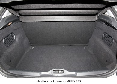 Rear view of a car with an open a trunk
