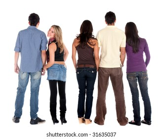 Rear view of a casual group of people with a girl facing the camera - isolated