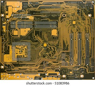 Rear view of computer circuit board close-up