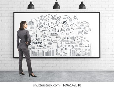 Rear view of confident businesswoman looking at creative business plan sketch drawn on whiteboard. Concept of strategy and business education