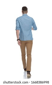 Rear view of confident casual man wearing blue shirt, walking on white studio background
