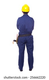 Rear view of a contractor standing on white background