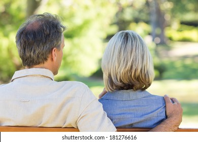 Rear view of couple with arm around relaxing in park