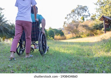 Rear view of disabled handicapped man in wheelchair and care helper walking in park.