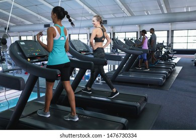 Rear view of diverse fit women exercising on treadmill in fitness center. Bright modern gym with fit healthy people working out and training