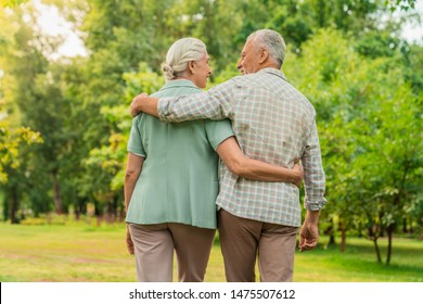 Rear view of elderly man and woman walking through a park with their arms around