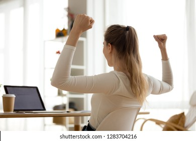 Rear view at excited woman reading good news in email, happy girl student looking at laptop celebrating win admission online letter, promotion, new opportunity, great exam test results, got job