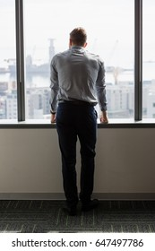 Rear view of executive looking through window in office