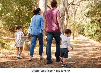 Rear View Of Family Walking Along Path Through Forest Together