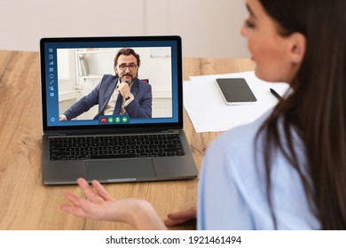 Rear View Of Female Entrepreneur Having Online Business Meeting With Boss, Making Video Call On Laptop Computer While Sitting At Workplace In Modern Office, Via Teleconference, Creative Collage