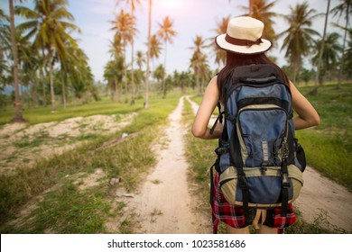 Rear view of girl backpack travel in park garden and  beautiful nature,Happy female tourist to travel in wild trip hiking during vacation,Traveler and holidays, Backpacker concept,