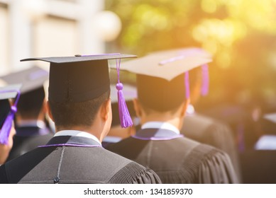 Rear view of Graduates join the graduation ceremony at the university. Education graduation in university theme concept.