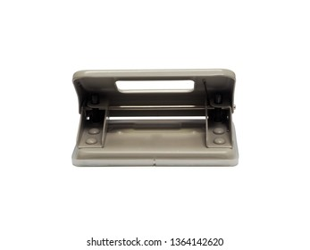rear view of gray paper hole puncher of office stationery   isolated on white background