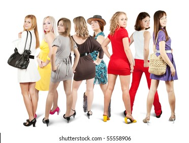 Rear view of group Stylish girls. Isolated over white