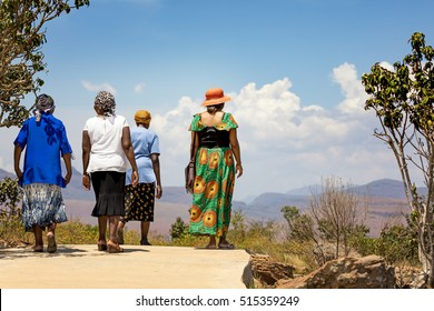 Rear view of a group of unidentifiable mature women enjoying an afternoon walk. Lowveld region of South Africa
