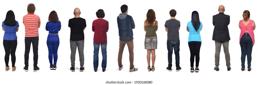 rear view of a group of woman and men with arms crossed on white background