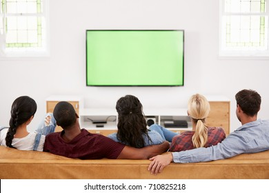 Rear View Of Group Of Young Friends Watching Television Together