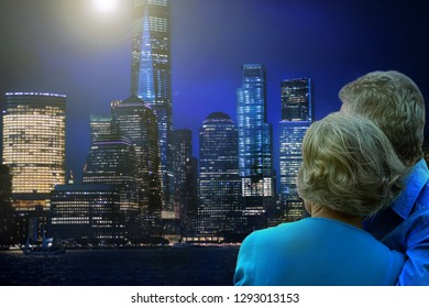 rear view of happy senior couple hugging against New York city