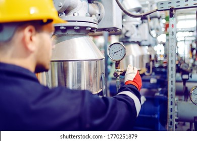 Rear view of hardworking blue collar worker in protective working suit and with helmet adjusting temperature on boiler while standing in factory.