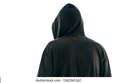 Rear view of hooded male person isolated on white background with copy space