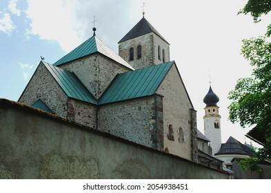 Rear view of the Innichen Abbey ( Italian: Collegiata di San Candido - German: Stiftskirche Innichen), Italy