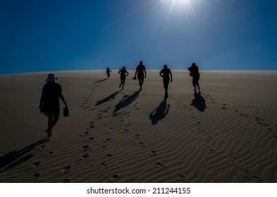 Rear view of joyful happy family climbing a dune