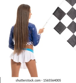 Rear view of leggy brunette with checkered flag