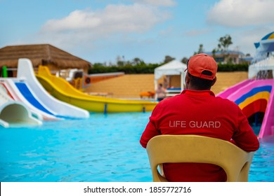 Rear view of lifeguard sitting on chair with rescue buoy at poolside. lifeguard looks at the children's pool. Vacation safety control. Babysitting on the water